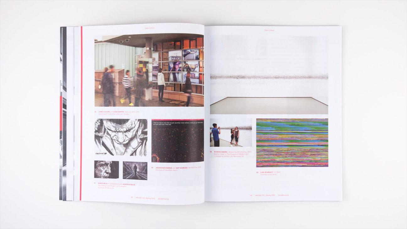 Examples of data art include the work of Ben Rubin, Laura Kurgan and Ryoji Ikeda
