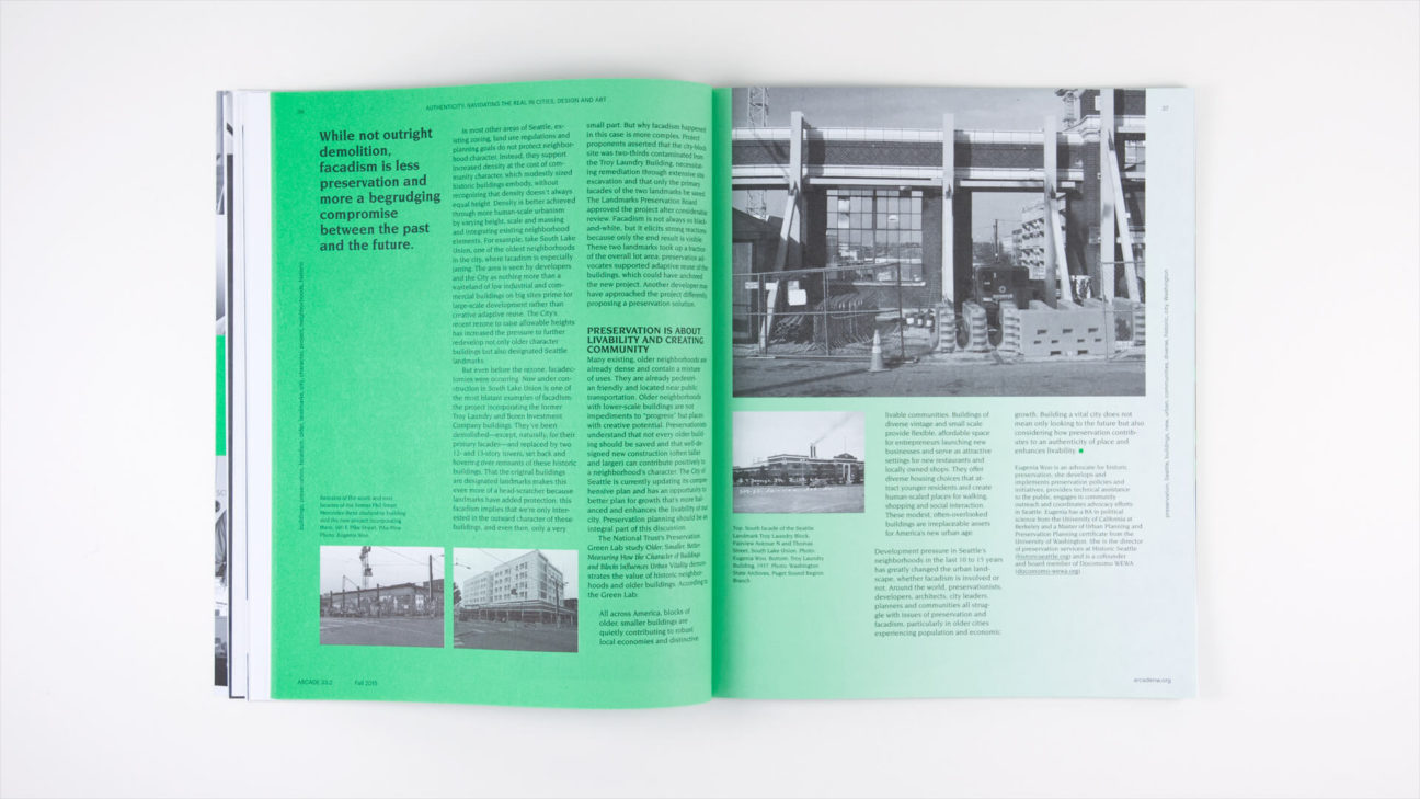 ARCADE 33.2 feature on authenticity and the changing city