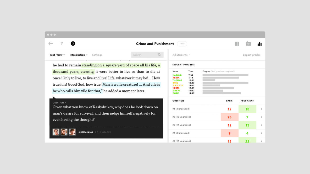 Teachers can track student progress directly in the text itself