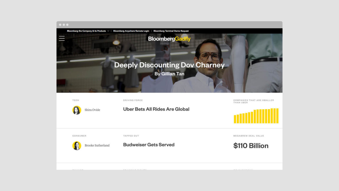 The homepage of Bloomberg Gadfly changes frequently throughout the day