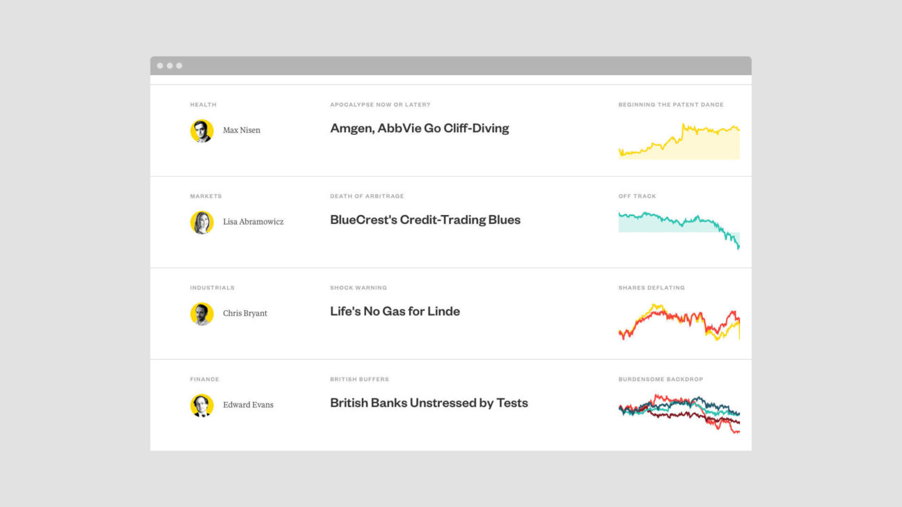 Articles are organized chronologically as a feed, with data visualizations in the margins