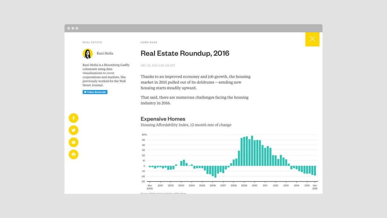 Schema designed Bloomberg Gadfly as a single-page app, with articles that expand inline