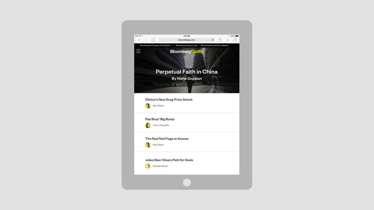 Tablet view of the homepage with masthead image