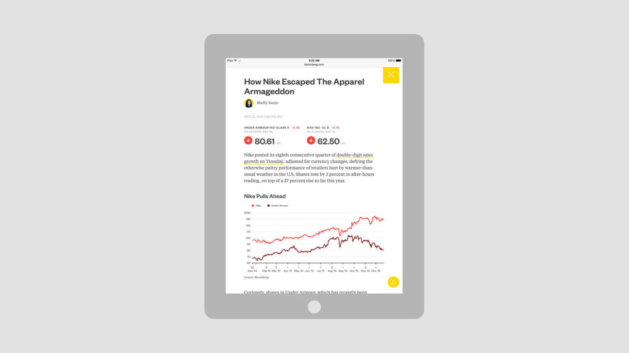 Tablet view of an article