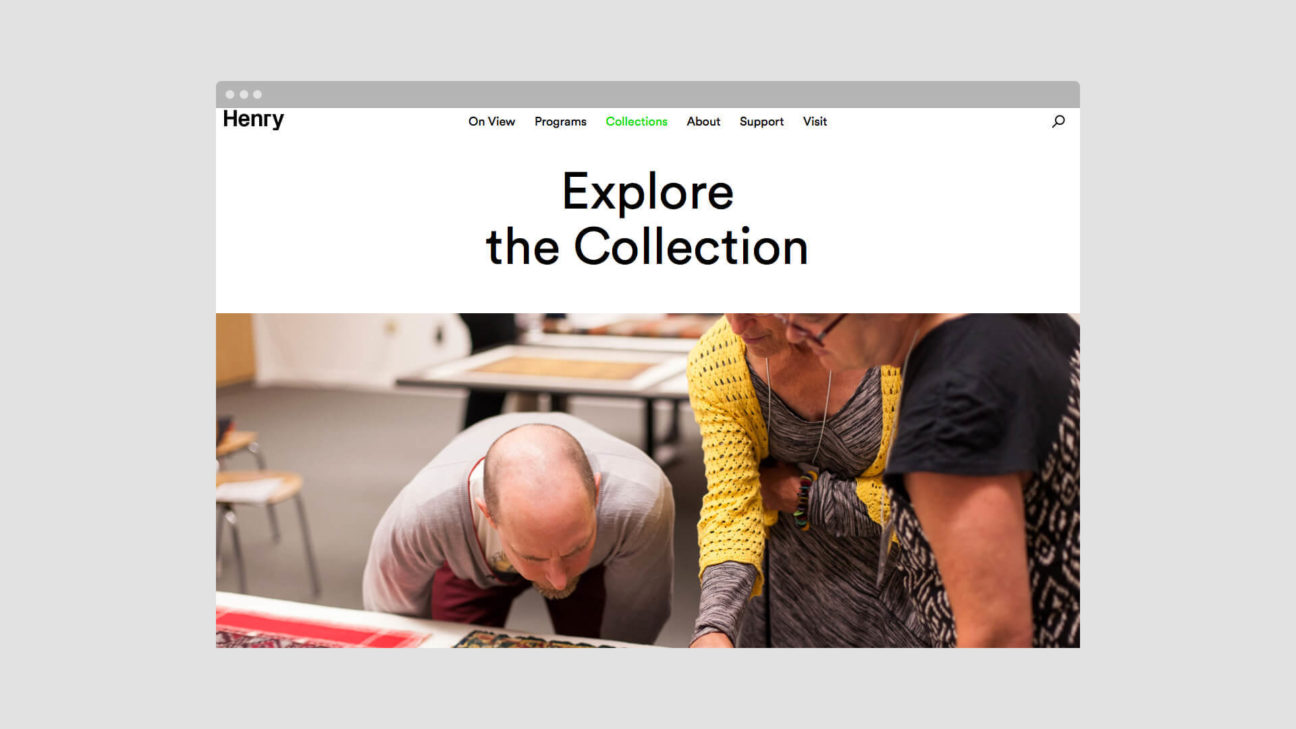 The website features the museum's full collection