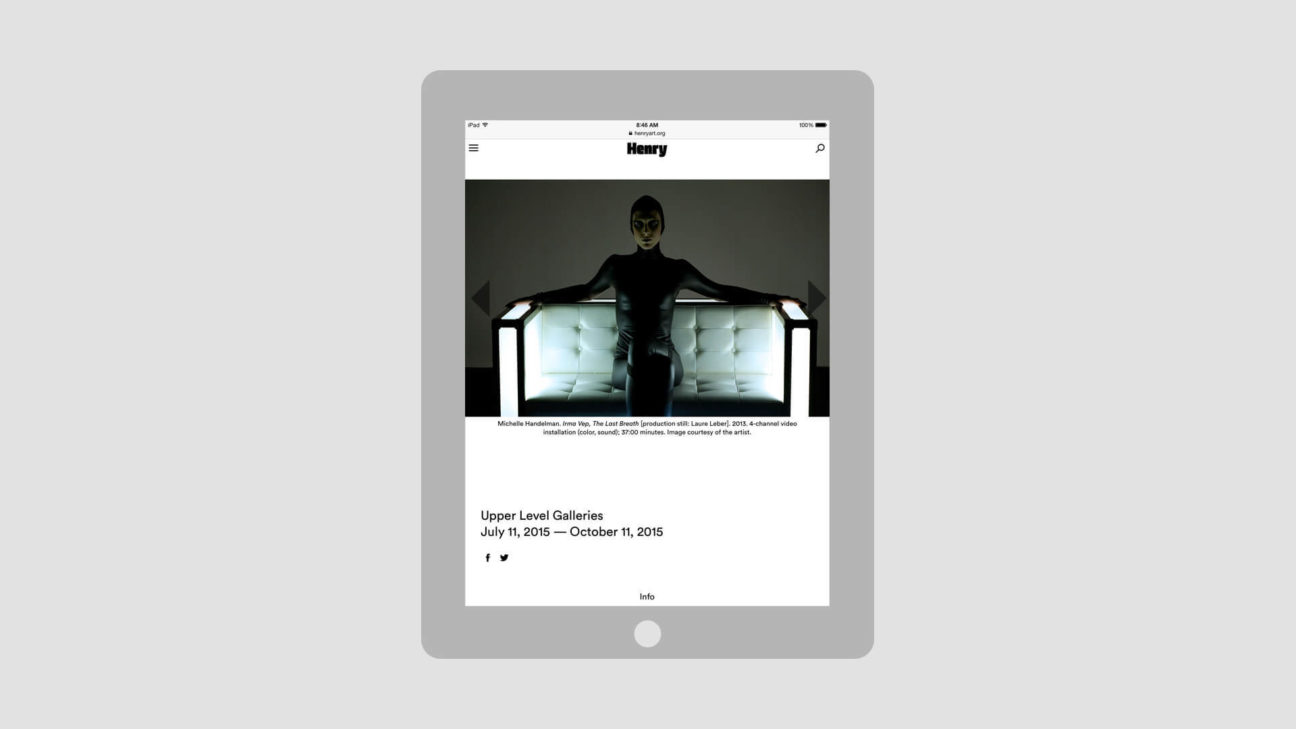 Exhibition pages on tablet