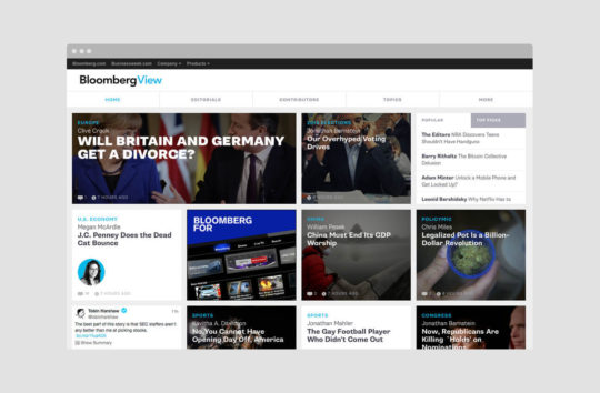 Schema designed the Bloomberg View website based on a flexible grid of tiles