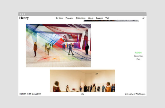 The homepage is a continous feed of programming at the museum