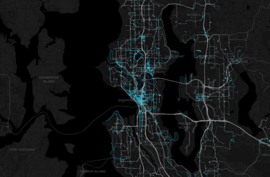 Over the course of 24 hours you see the shape of the city emerge from the data