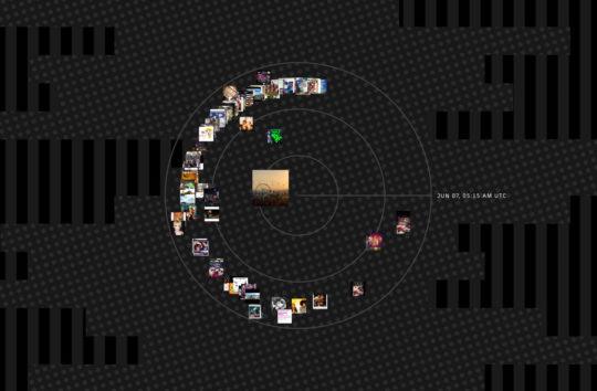 The Instaradar is a radial data visualization of Instagram photos