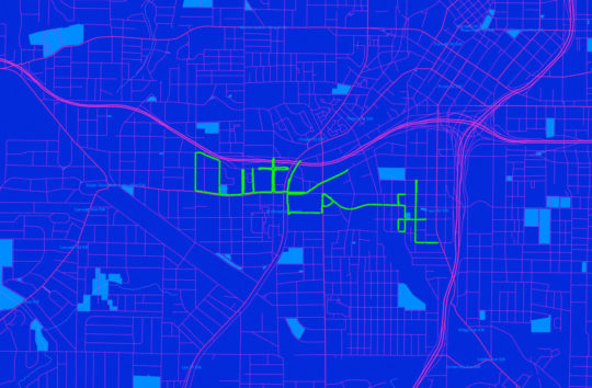 "Schema designed a data visualization of the bike routes spelling the name ""Outkast"" in the streets of Atlanta"