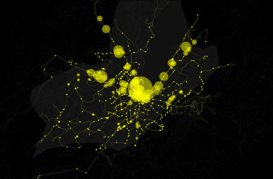 Ridership data reveals the urban characteristics of a city
